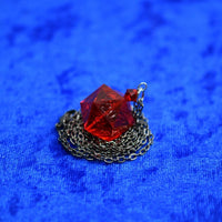 Ruby Gamescience D20 Dice Necklace - Polycarbonate Tabletop Gaming Jewelry with Crystal Accents