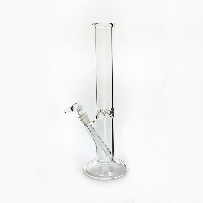 Glass Waterpipe Basic Clear Straight  W/Ice Pinches 50mm