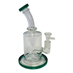 Glass Waterpipe Oil Rig W/Color Rig-Base - Circle In