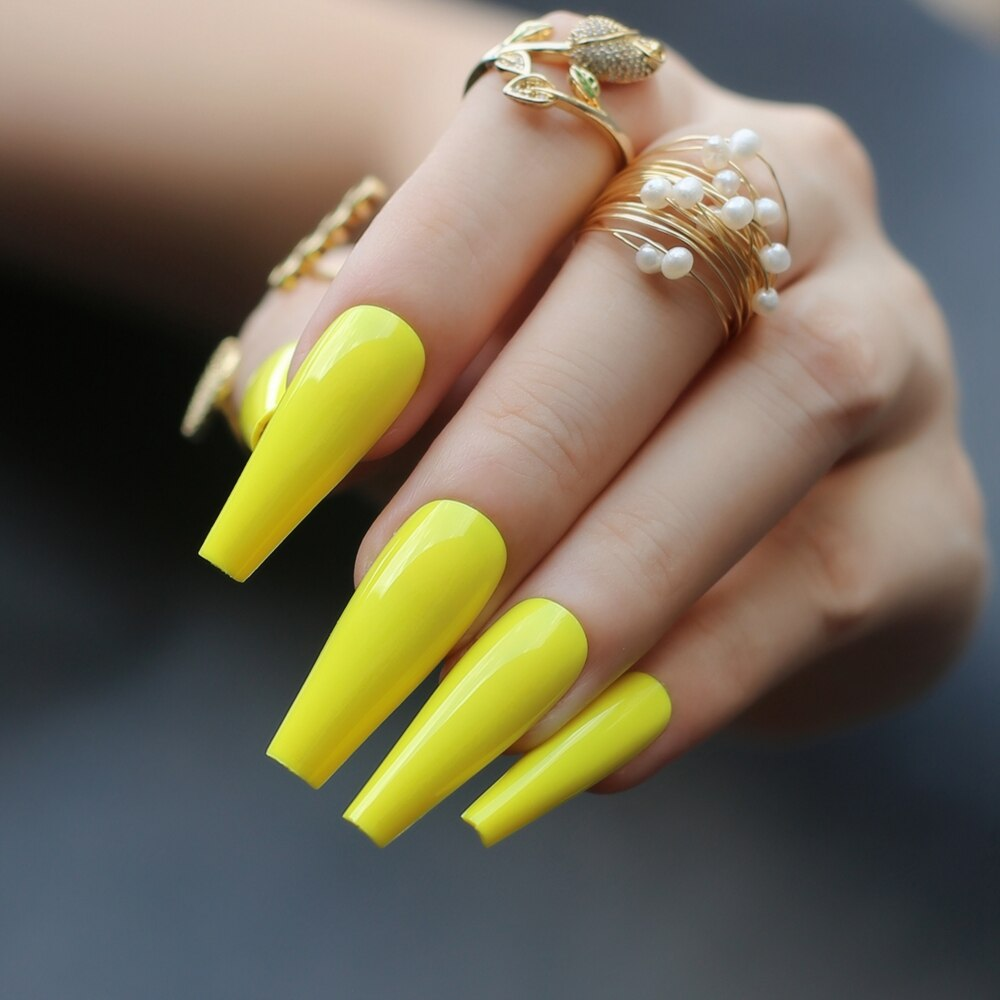 Faux ongles gel jaune