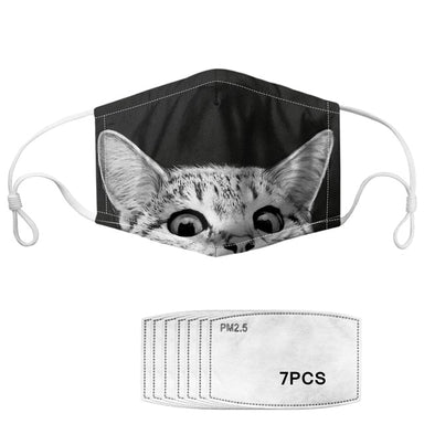 Masque enfant protection tissu chat