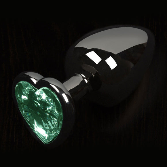 Dolce Piccante Graphite Style Small Butt Plug Green Heart Gem.