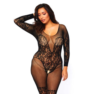 Leg Avenue Vine Lace And Net Bodystocking UK 16 to 18 - Sex Monster Sex Shop Online UK