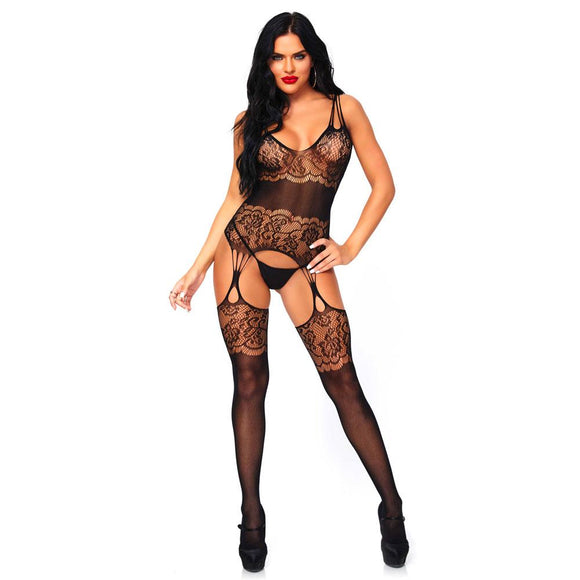 Leg Avenue Strappy Rose Lace Bodystocking UK 8  14 - Sex Monster Sex Shop Online UK