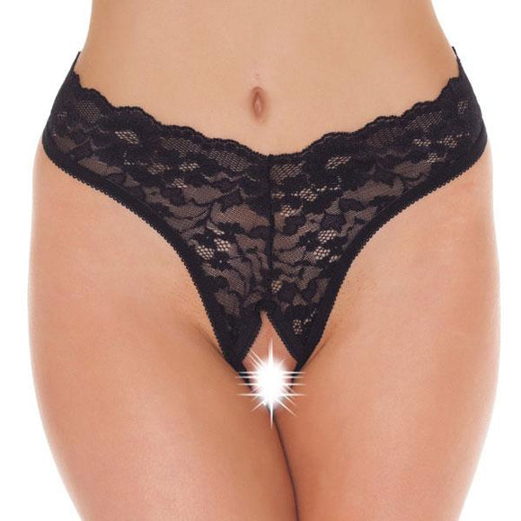 Black Lace Open Crotch GString - Sex Monster Sex Shop Online UK