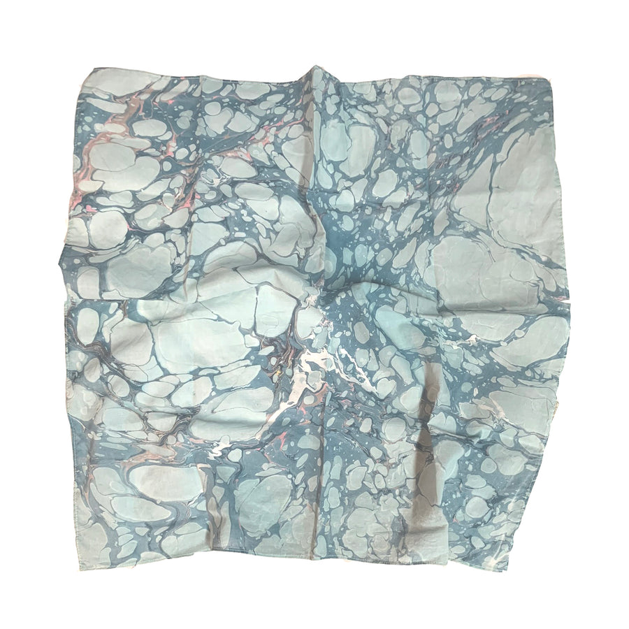 Cotton silk bandana • Hand Dipped Marble Pattern
