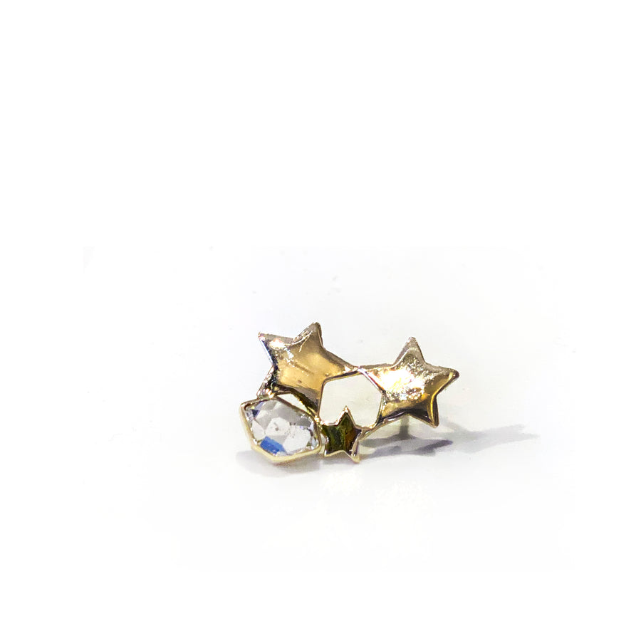 Triple Star Stud • 14kt Gold & Herkimer Diamond Earring
