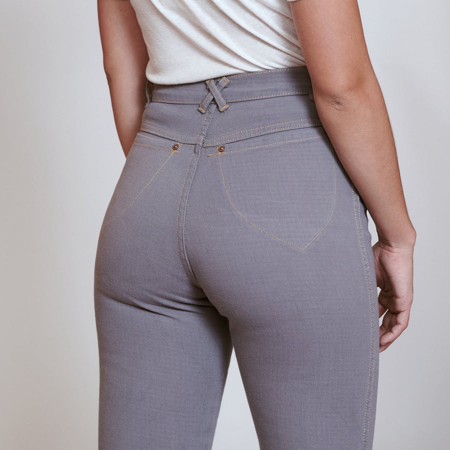 High Waisted Judi Jean • 100% Cotton Slate Grey Gingham