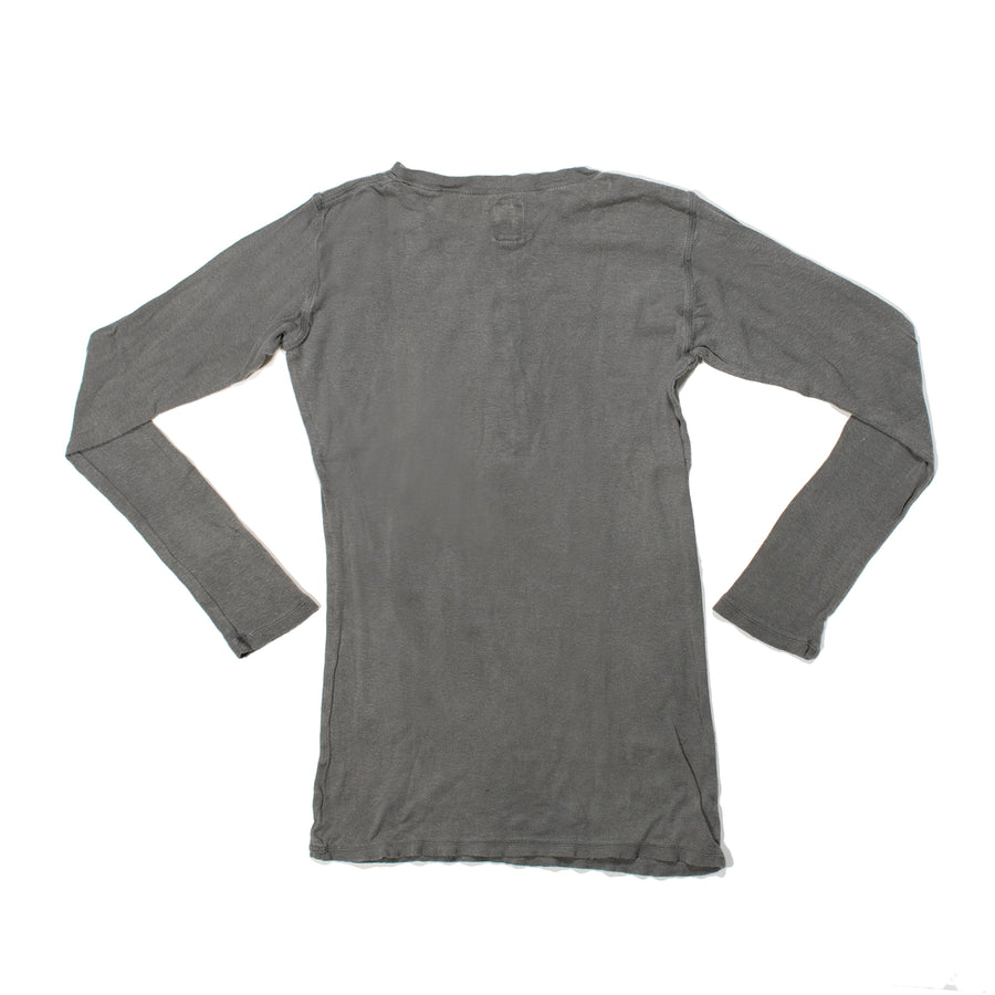 Plant Dyed Organic Cotton Henley • Charcoal