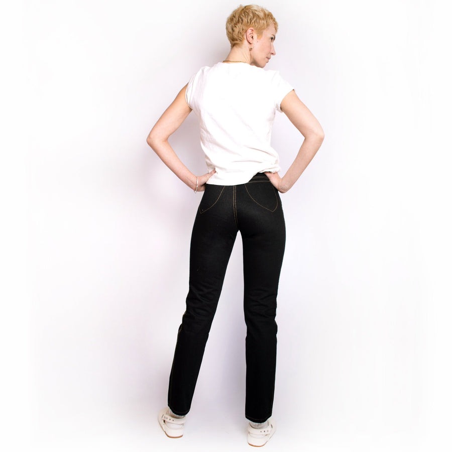 High Waisted Judi Jean   •  100% Cotton Black Denim