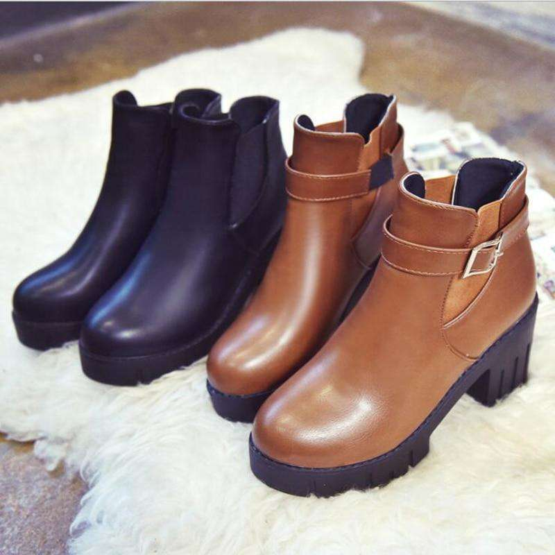 2019 Autumn New Arrival Fashion Women Boots Short Ankle Boots Casual Women Boots Black British Locomotive Snow Shoes Size 35-39