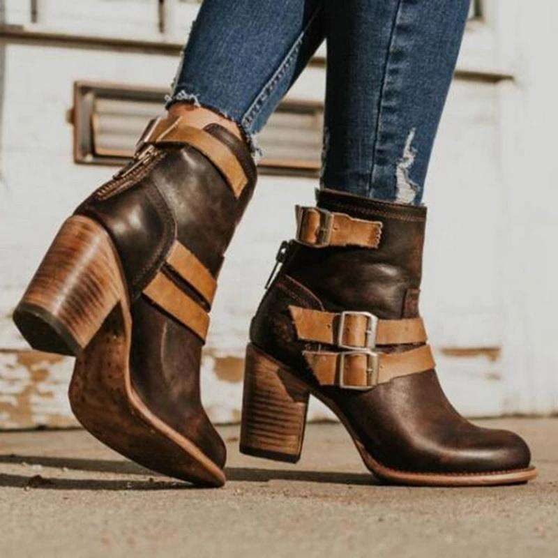 2019 Autumn Women Boots High Heels Shoes Female Rivet Buckle Shoes Ladies Short Boots Leather Ankle Boots Hot Sale
