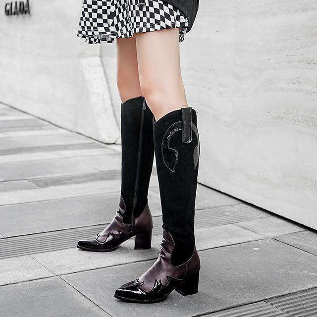 Snake Print Cowgirl - Woman Fashion Winter Boots