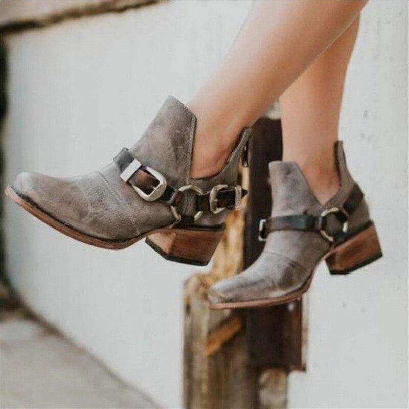 2019 Boots Women Retro Leather Shoes For Winter Boot Shoes Woman Casual Spring Botas Mujer Female Ankle Ladies Botas