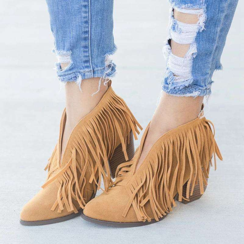 2019 Chic Women Shoes Retro Fringe Suede High Heel Ankle Boots Female Mid Heels Casual Mujer Booties Feminina Plus Size 43