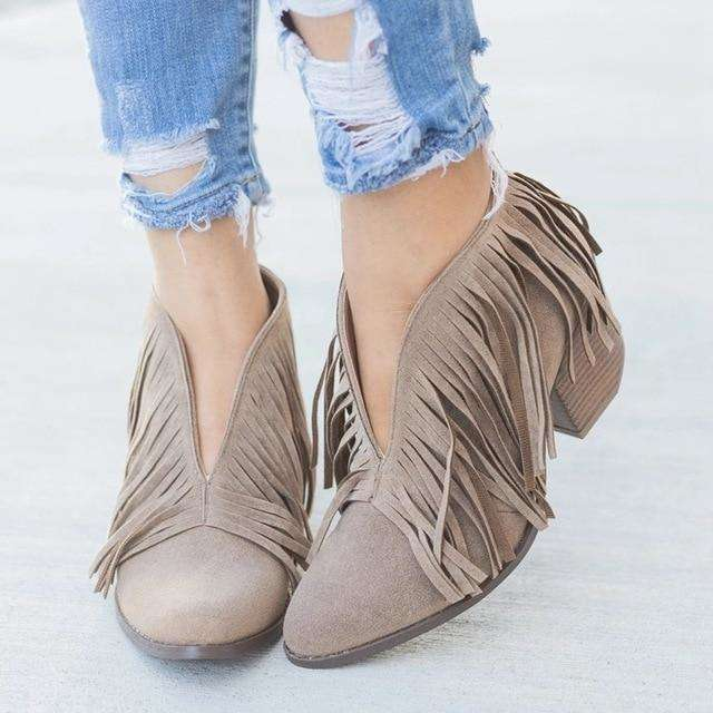 Fringe Suede Ankle High - Woman Fashion Spring Boots