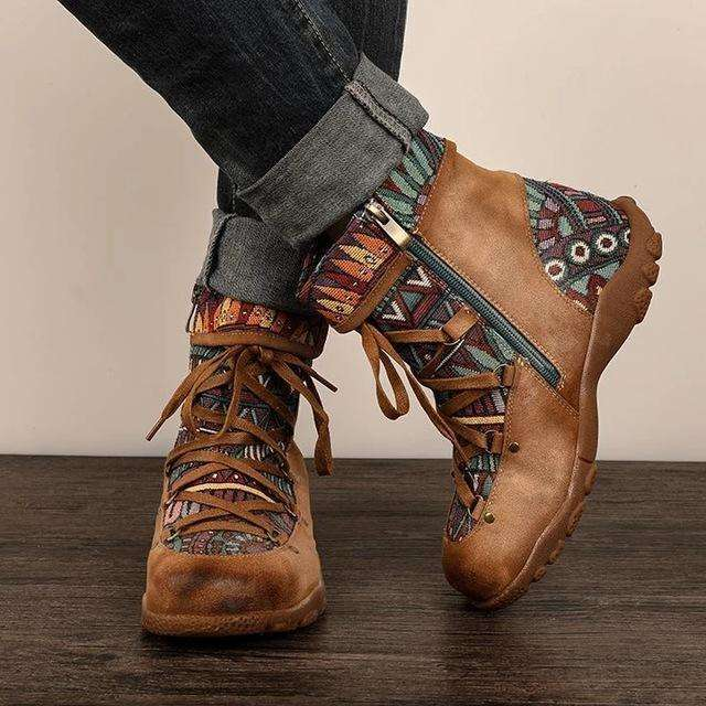 2019 Embroidered Womens Boots Autumn Winter Boho Ladies Round Head Short Boots Female Lace-up Boots Casual Dropshipping