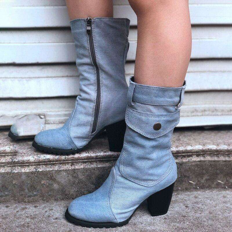 Denim Cowboy Style - Woman Fashion Spring Boots