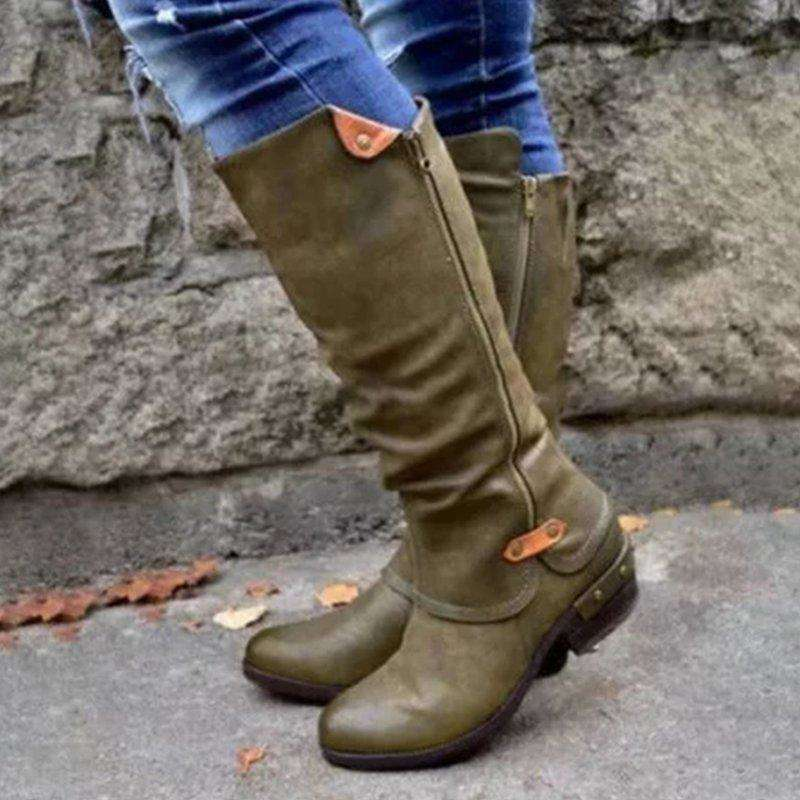 2019 Fashion Comfortable Boots Women Boots Side Zipper Sexy High Heels Women Shoes Chelsea Winter Knee-High Boots Botas Mujer