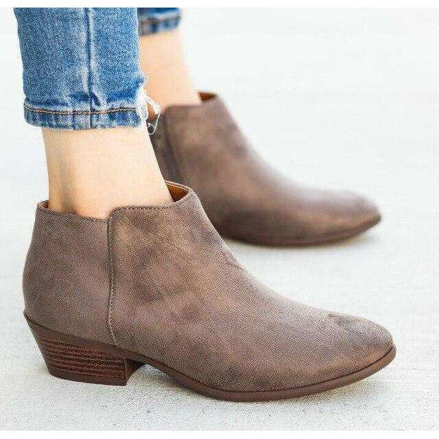 Slip-on Square Heel - Woman Fashion Winter Boots