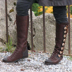Women Round Toe Button Boots