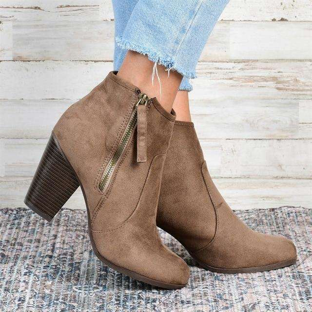 Pointed Low Heel Boots