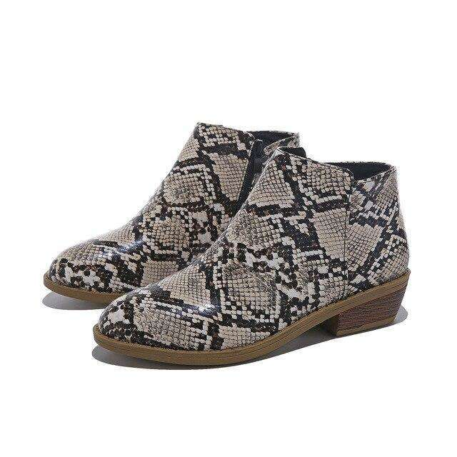 Leopard Casual Retro Ankle High Boots