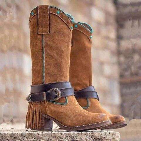 Denim Cowboy Style High Heels Boots