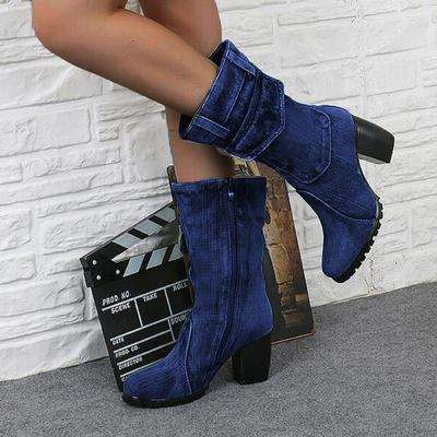 2019 New Fashion Autumn Winter Women  Boots Women Round Toe Canvas Cowboy Style High Heels Shoes Knee High Boots