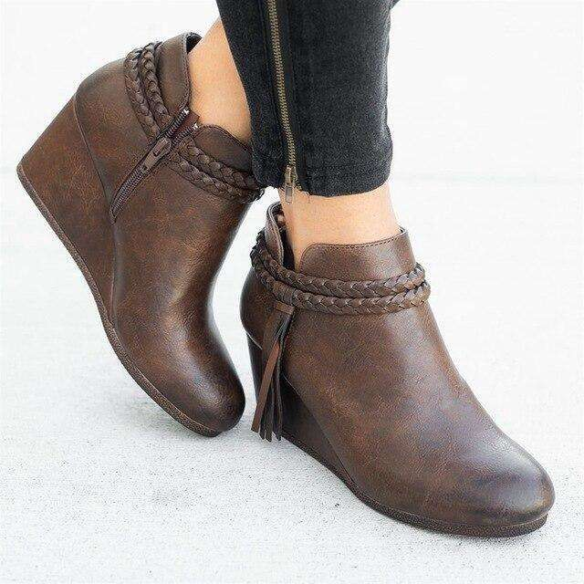 Round Head Wedges Bottom Woman Spring Boots