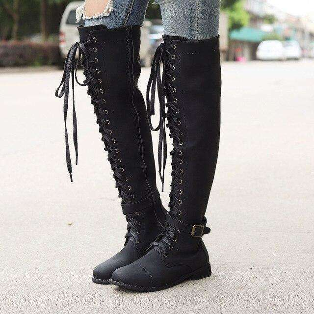 Lace Up Suede Leather High Heels Boots