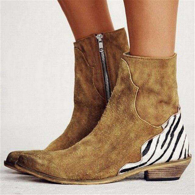 Leopard Print Pointed Toe Ankle Boots