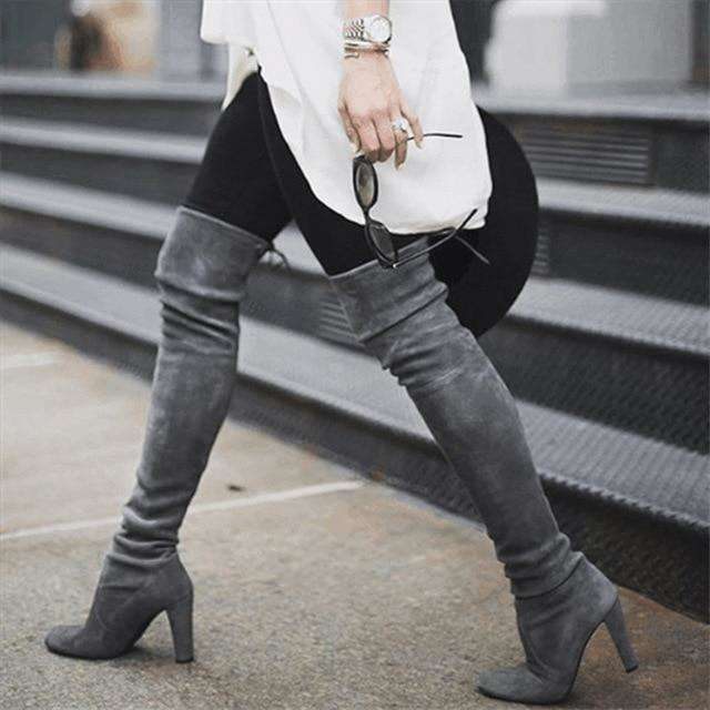 Stretch Flock Winter High Boots