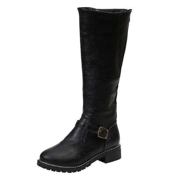 Square Heel Zipper Knee Height Buckle Boots