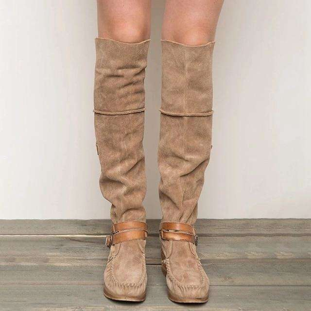 Low Heel - Over The Knee Tassel Boots