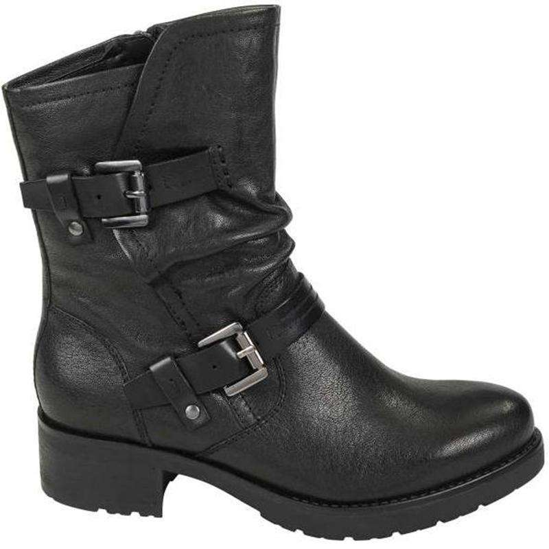 Suede Leather Buckle Snow Boots