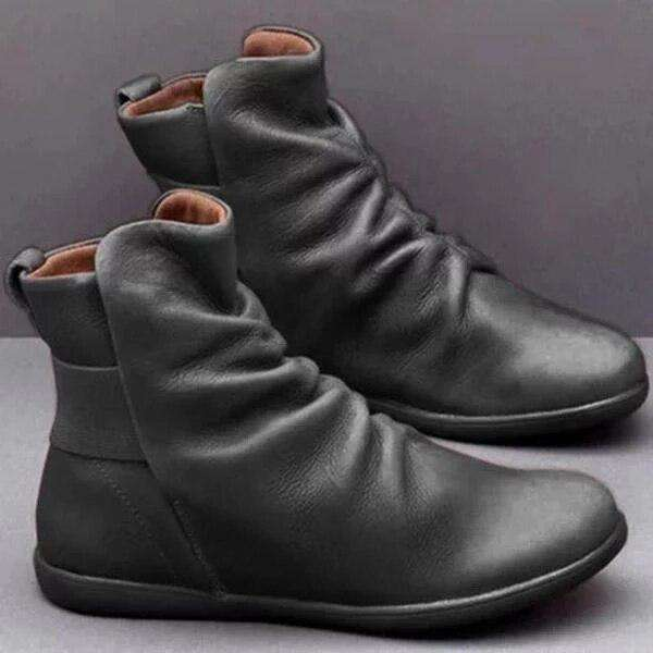 Sprain Leather Folds Ankle Boots