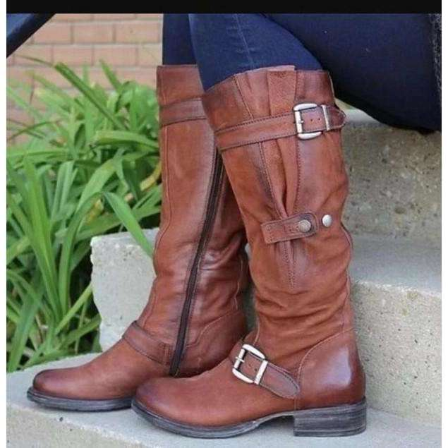 Fashion Solid Color Mid-calf Boots