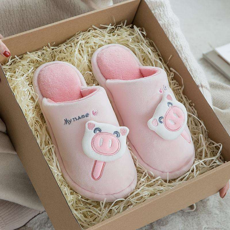 Casual Fur Pig Slippers For Home