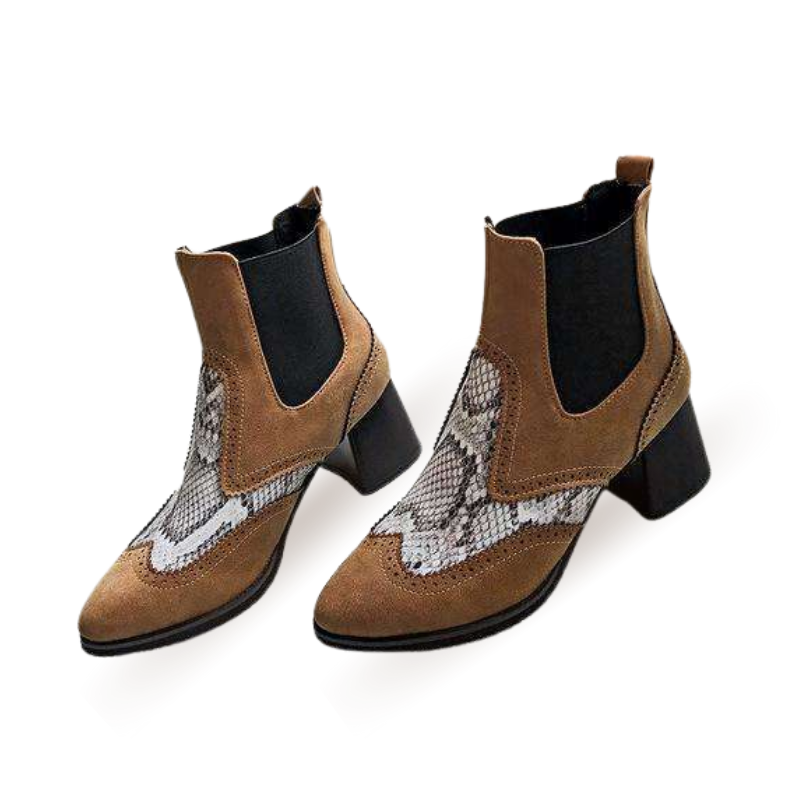 Ankle High Snake Print Stitching Boots