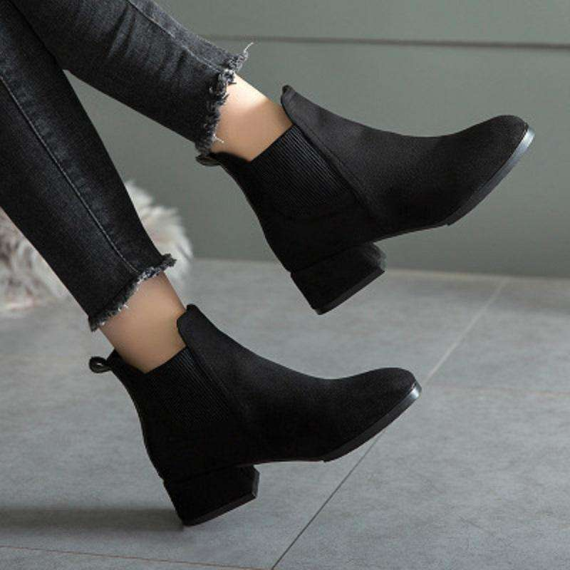 Ribbed Low Cut Heeled Boot