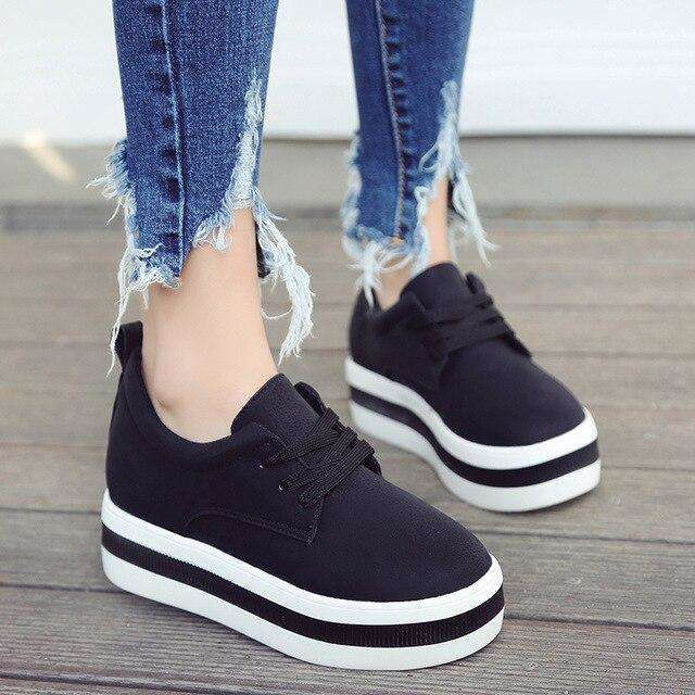 Low Platform Stripe Sole Shoes