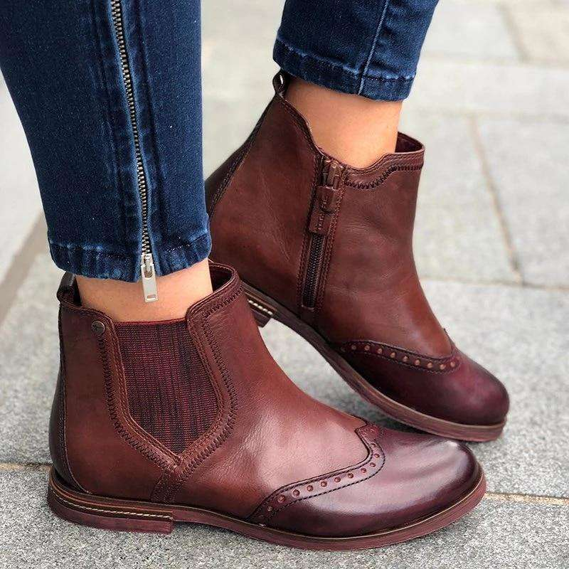 Vintage Side Stitched Zipper Boot