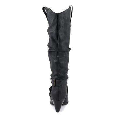 Knee High Crinkle Heeled Boots