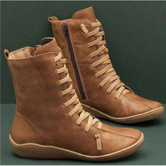 Comfortable Color Laced Boots