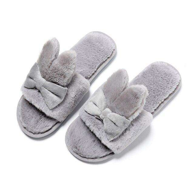 Indoor Plush Bow Ear Slippers