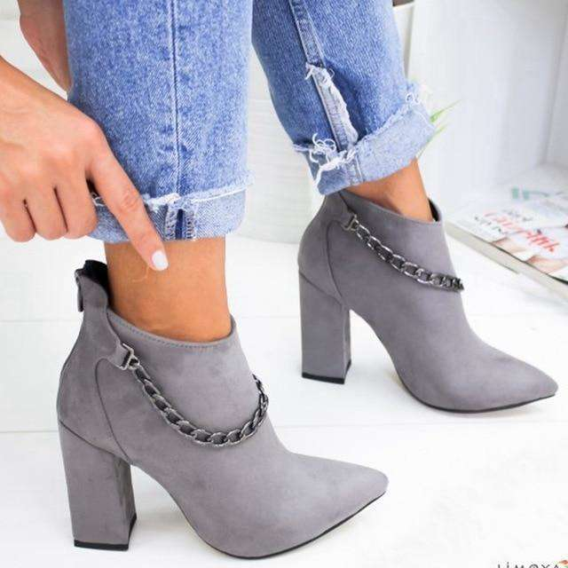 Chain High Heeled Booties