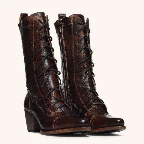 Lace-up Genuine Leather High Boots