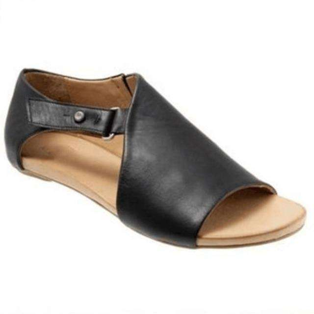 Leather Slip-On Buckle Up Sandals
