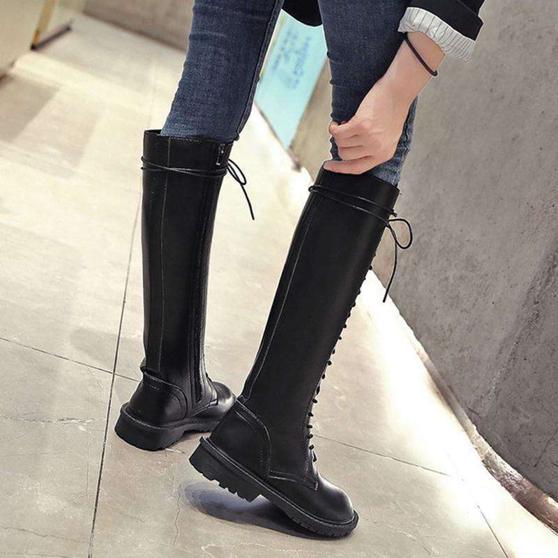 Women's Shiny Long Tied Boots